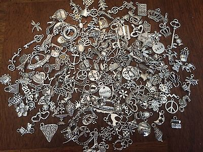 100 PiEcE LoT ~ MiXeD ThEMe STyLeS SiLvER ChArMs PeNdAnTs NeW JeWeLRy FiNdiNgS