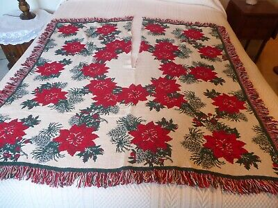 Vintage Tree Skirt Square Woven Tapestry Poinsettia Design Red Green Cream 48""