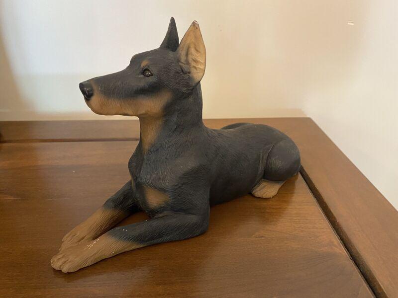 Vintage 1985 Sandicast Black Doberman Pinscher Sculpture Figure Dog
