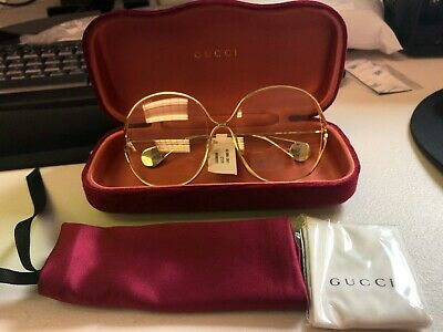 Gucci GG 0362S 001 Gold Metal Round Sunglasses Transparent -
