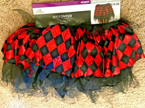 Tutu Skirt Red Black Plaid Dress Up Gambling Costume Hen Night Womens S M L XL