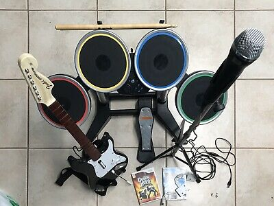 Nintendo Wii Rock Band Bundle Drum Set, 1 Fender Guitars, Mic And Stand, 2 Games Guitar Controller Stand