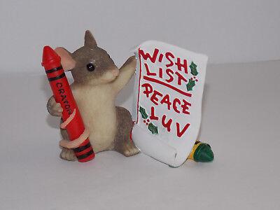 "CHARMING TAILS F&F Mouse Figurine - ""Mackenzie's Wish List"""