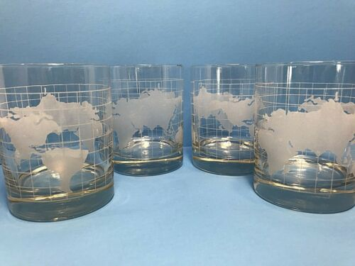 "4 Nestle Nescafe World Globe Glass Drinking Glasses 4"" Tumblers Heavy Etched VTG"