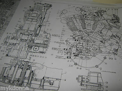 HARLEY DAVIDSON Plan Drawing Print 61ci KNUCKLEHEAD Engine BLUEPRINT EL HD