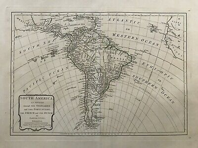 1787 Antique Map; South America as divided amongst the Spaniards. by Samuel Dunn