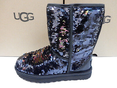 UGG WOMENS BOOTS CLASSIC SHORT SEQUIN BLACK SIZE 6](Sequin Womens Boots)