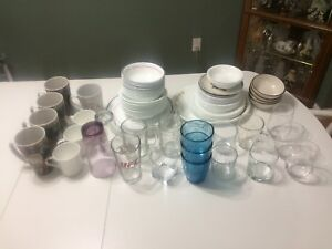 Dishes, coffee cups, glasses and wine glasses