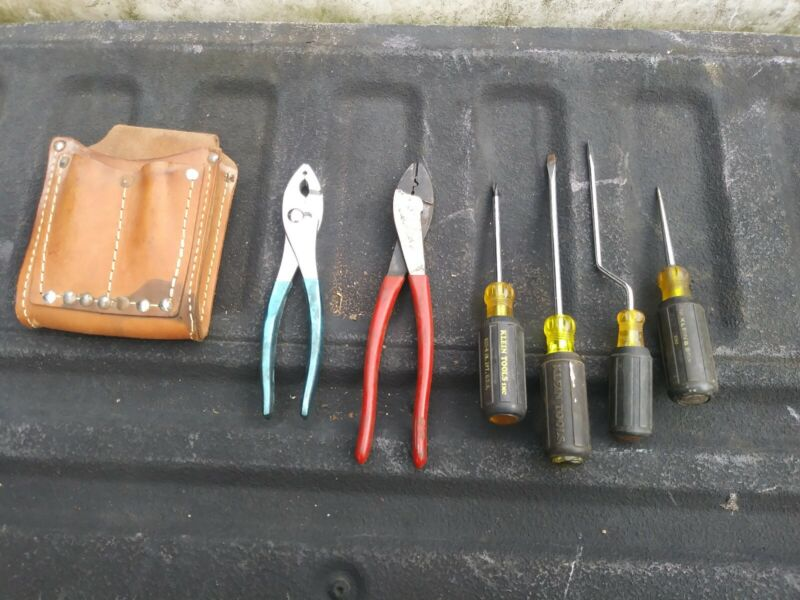 Klein tools Screwdriver, Pliers, Crimpers & Leather Pouch Tools Lot