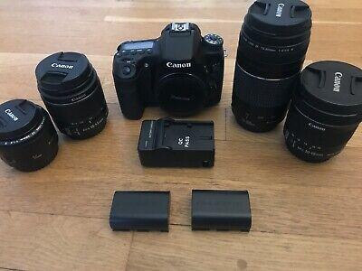 Canon EOS 70D Digital SLR- Black w/ ~4 LENSES~ & 2 batteries