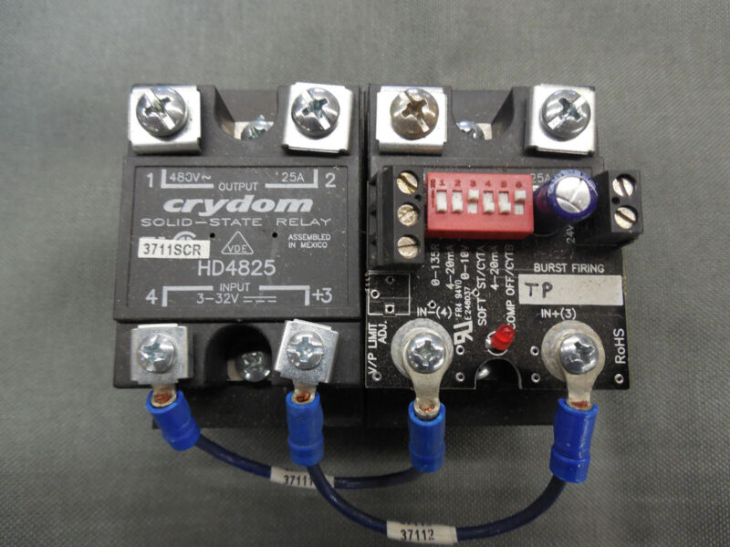 Pair of Crydom HD4825 Solid State Relays on HBC TP-25HDS-2 Heat Sink (Assembly)