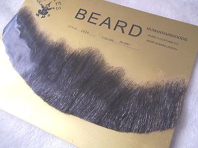 Beard Human Hair Full DARK GREY  Net Back Professional Theatrical Rubies #2024](Theatrical Beards)