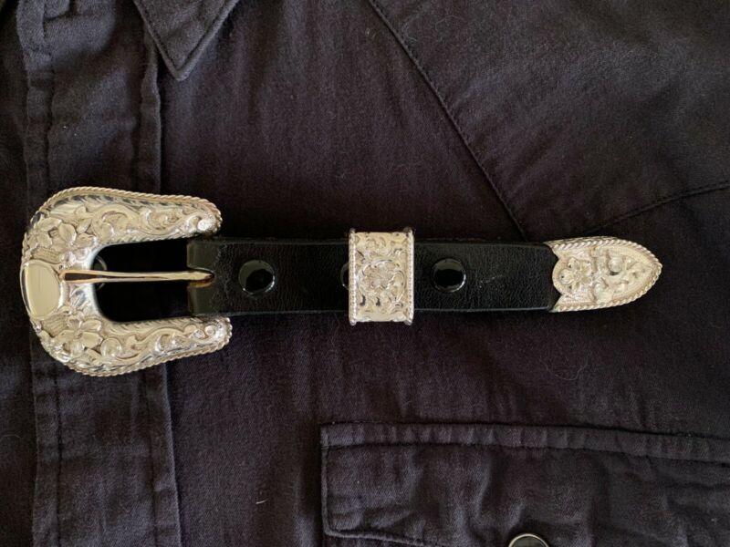 "Bohlin Sterling Silver 3/4"" Ranger 4A Belt Buckle Set - New Condition"