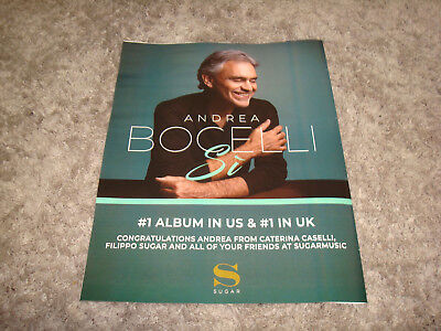 ANDREA BOCELLI 2018 ad 'Si' as #1 Ablum in US & UK & JOHN MAYER Legend of Live