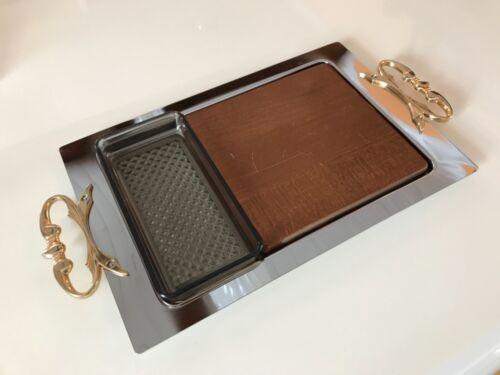 Kromex 3 Piece Serving Tray Cutting Board Snack Server Chrome Gold Tone MCM Vtg