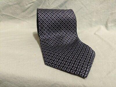 Giorgio Armani Collezioni 100% Silk Tie Dark Blue Diamond Pattern Made in Italy Diamond Patterned Silk Tie