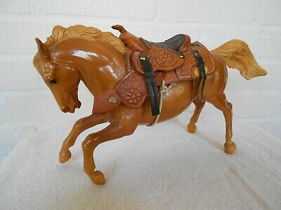 Vintage Brown Plastic Horse with beautiful detailed saddle. Early Breyer.