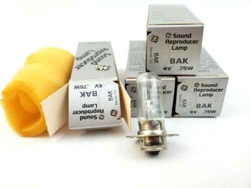 Lot of 4 GE BAK .75A 4V Sound Reproducer Lamps General Electric