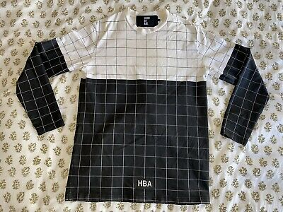 Hood By Air HBA Long Sleeve Shirt Mens Sz L Grid Black/White