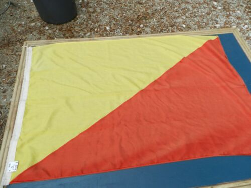 "Vintage Big Ship Cloth Flag  Letter ""O""    2 1/2 ft X 4 ft"