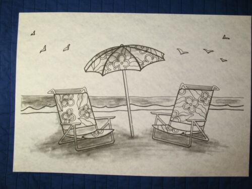 * TRI CHEM 2951 SUMMER BY THE SEA BEACH CHAIR UMBRELLA Picture to paint TRICHEM