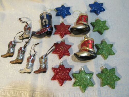 8 Christmas Ornament Cowboy Boots & 9 stars with glitter red blue green Holidays