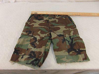 "BDU Woodland Camouflaged 30"" Waist Button Fly Cargo Shorts Un-Hemmed Cuffs 33578"