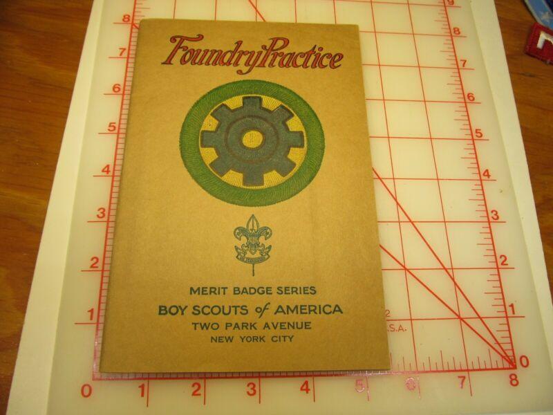 Tan cover Foundry Practice merit badge book 1000442 type (3B)