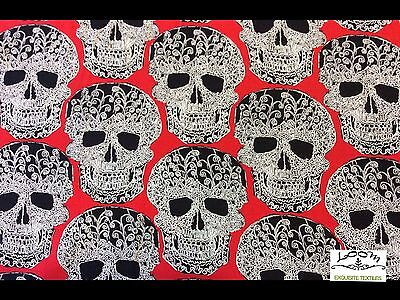 RPG207A Skulls Halloween Scary Terror Dead Tattoo Drawing Quilting Cotton - Halloween Drawing Skulls