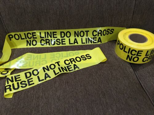 """NEW Police Line Do Not Cross Tape Yellow 3"""" x 1000 ft 3mil Bilingual Spanish"""
