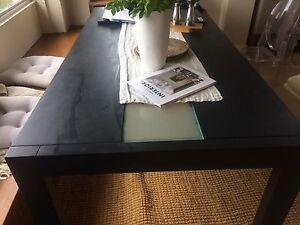 Black wood/glass dining table Mosman Mosman Area Preview