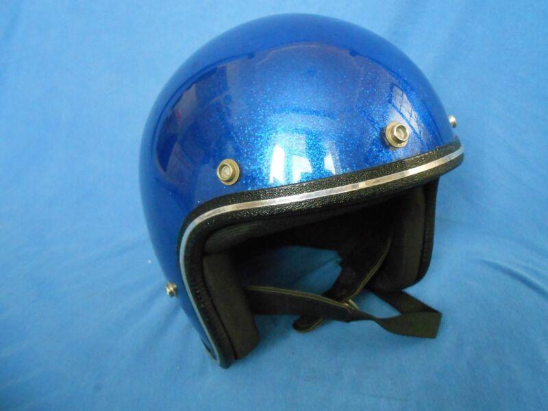 Vintage 1970s Blue Metal Flake Motorcycle HELMET Chopper Bobber Easy Rider Buco?