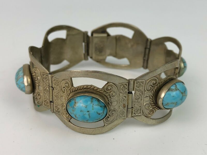 Vintage Hecho En Mexico Turquoise Bracelet 925 Sterling Silver