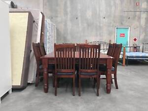 DELIVERY TODAY 9 pcs STRONG SOLID WOODEN dining table and chairs