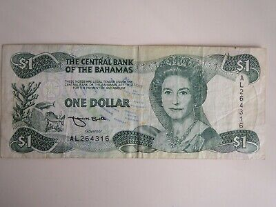 Central BAHAMAS One 1974 $1 Paper Money Bill Police Band Banknote Note Dollar