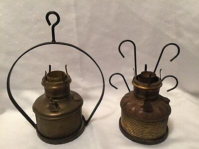 2 Vintage Wrought Iron Oil Lamp Hangers Holders W/ 2 Antique Brass Oil lamps
