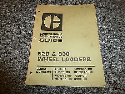 Caterpillar Cat 920 930 Wheel Loaders Tractor Owner Operator Maintenance Manual