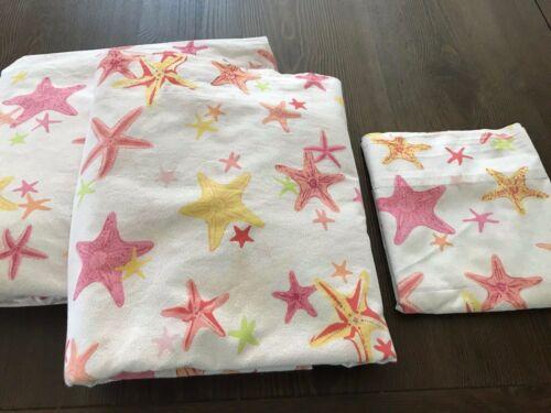 Pottery Barn 3pc Full Sheet Set ~ Coral Starfish ~ Beachy, Nautical