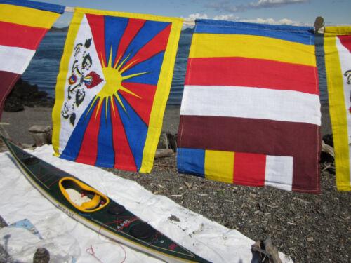 VERY RARE COLORFUL FAIR TRADE COTTON PRAYER FLAGS W/ TIBET & BUDDHIST FLAG NEPAL