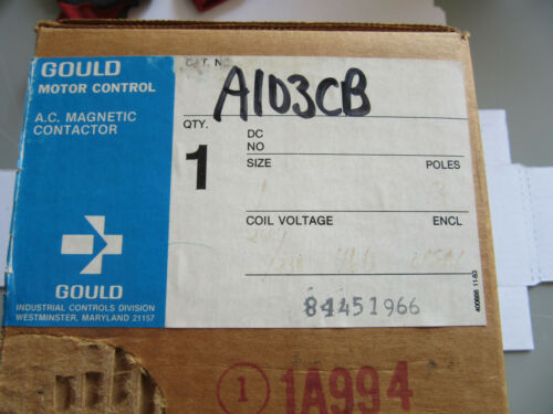 Gould A103C Size 1 Contactor 3 Pole Coil 240/480V NEW!!! in Box Free Shipping