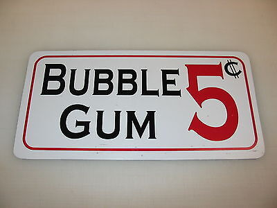 BUBBLE GUM 5 CENTS Sign Vintage Game Room Penny Chocolate Maker Machine Carnival