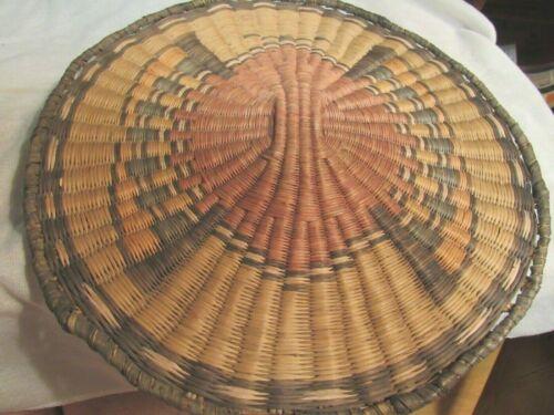 """Antique Hopi Wicker Tray Plaque Polychrome 11"""""""