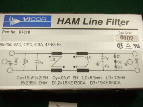 Vicor 07818 HAM Line Filter 250VAC 6.3A
