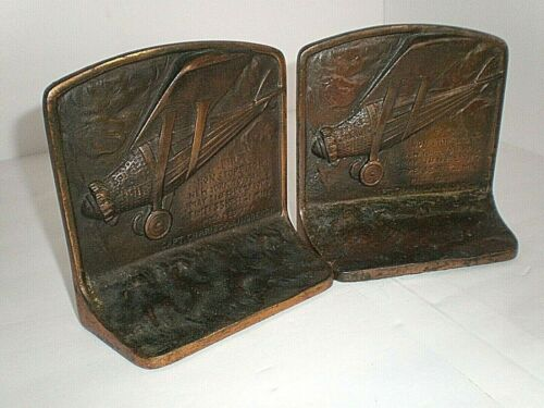 RARE Vintage Captain Charles A. Lindbergh First Nonstop Flight Metal Bookends