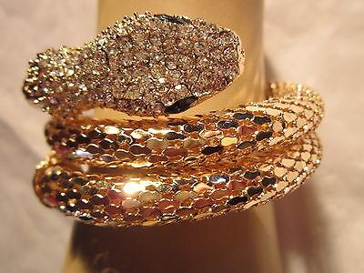 Strass Armspange Armreif Armband Schlange Gold Kristall XL Breit Dehnbar BR031