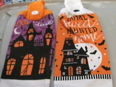 2 CROCHETED TOP KITCHEN TOWEL ENTER IF YOU DARE/ HOME SWEET HOME HAUNTED HOUSE
