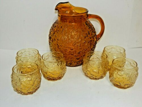 Vintage Ball Pitcher & 6 GlassesAmber Glass Anchor Hocking Milano Retro