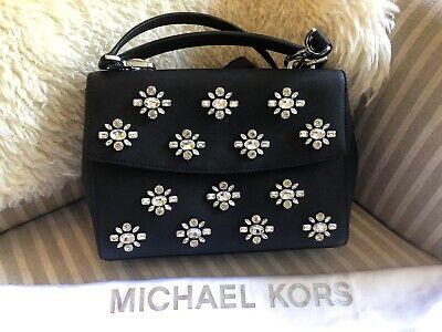 Michael Kors Ava Jewel Small Top Handle Satchel Handbag Purse Black