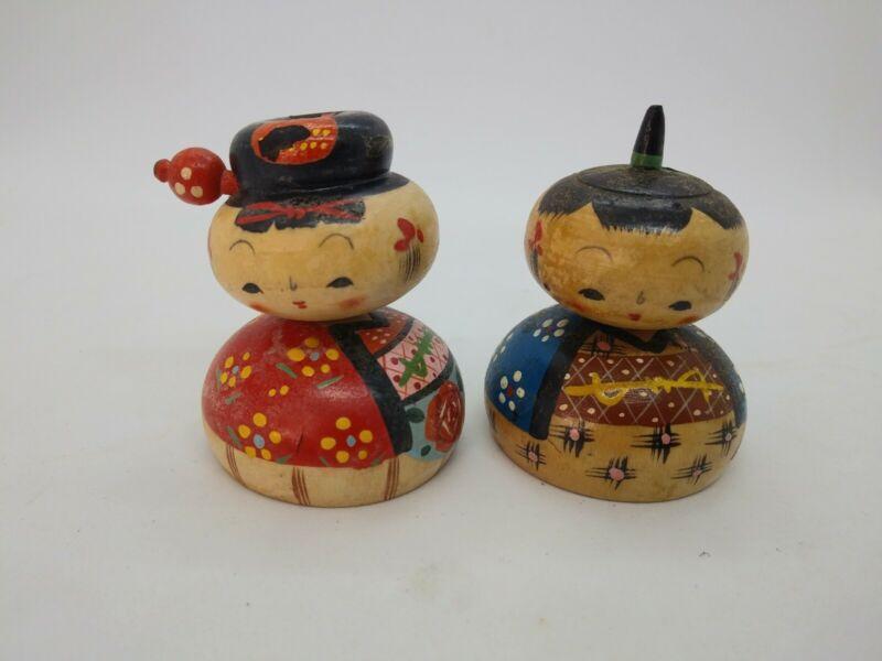 Vintage Wooden Japanese Kokeshi Dolls, Set of 2 Male & Female Bobbing Heads