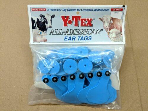 Y-TEX 2 Star 2-Piece Livestock Ear Tags Pig Hog Sheep Goat 25 Pack Blue Blank